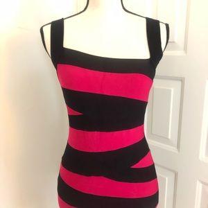 Bebe Cherry Red & Black Bondage Stripes Mini Dress